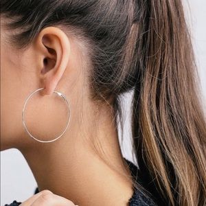 Jewelry - Large hoop silver earrings simply stylish 6cm NEW
